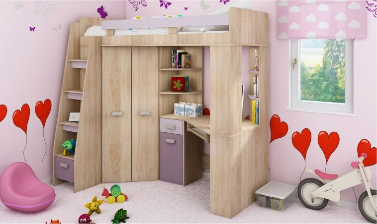 lit haut combin avec rangements young pour enfants et. Black Bedroom Furniture Sets. Home Design Ideas
