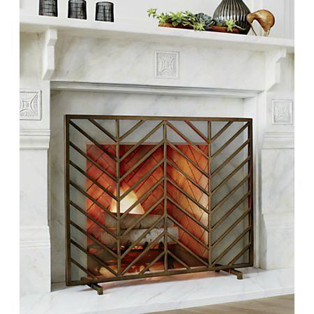 Chevron Brass Fireplace Screen Brass Fireplace Screen