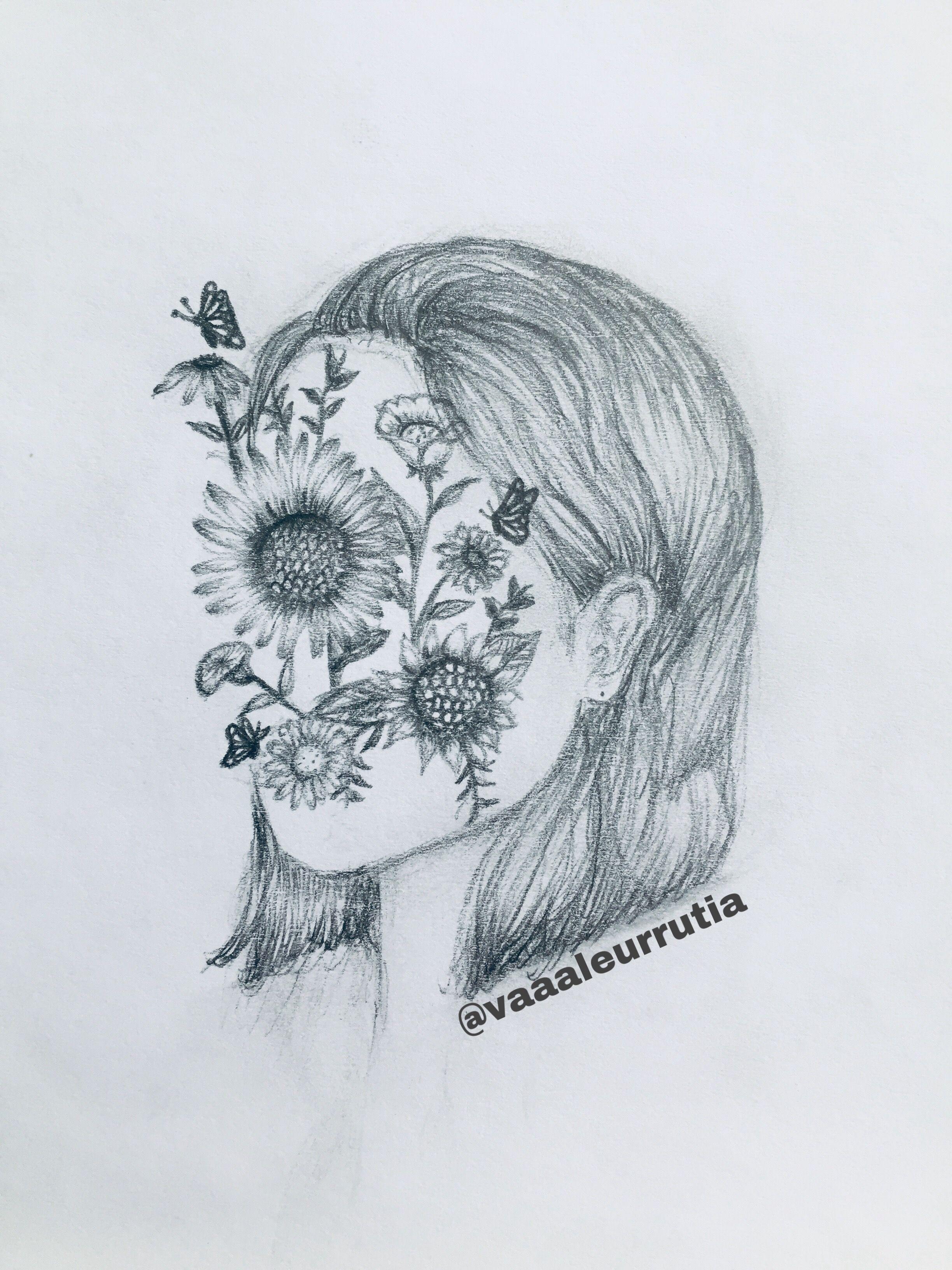 Retrato Mujer Y Flores Dibujos Hechos A Lapiz Dibujos A Grafito Retratos
