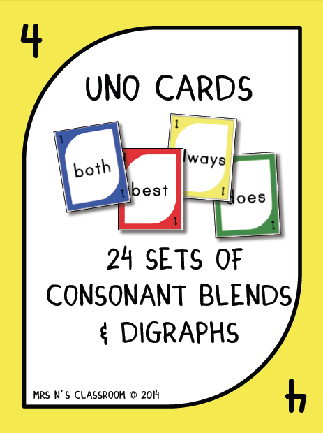 Consonant Blends & Digraphs Uno Game Cards --- The students have to ...