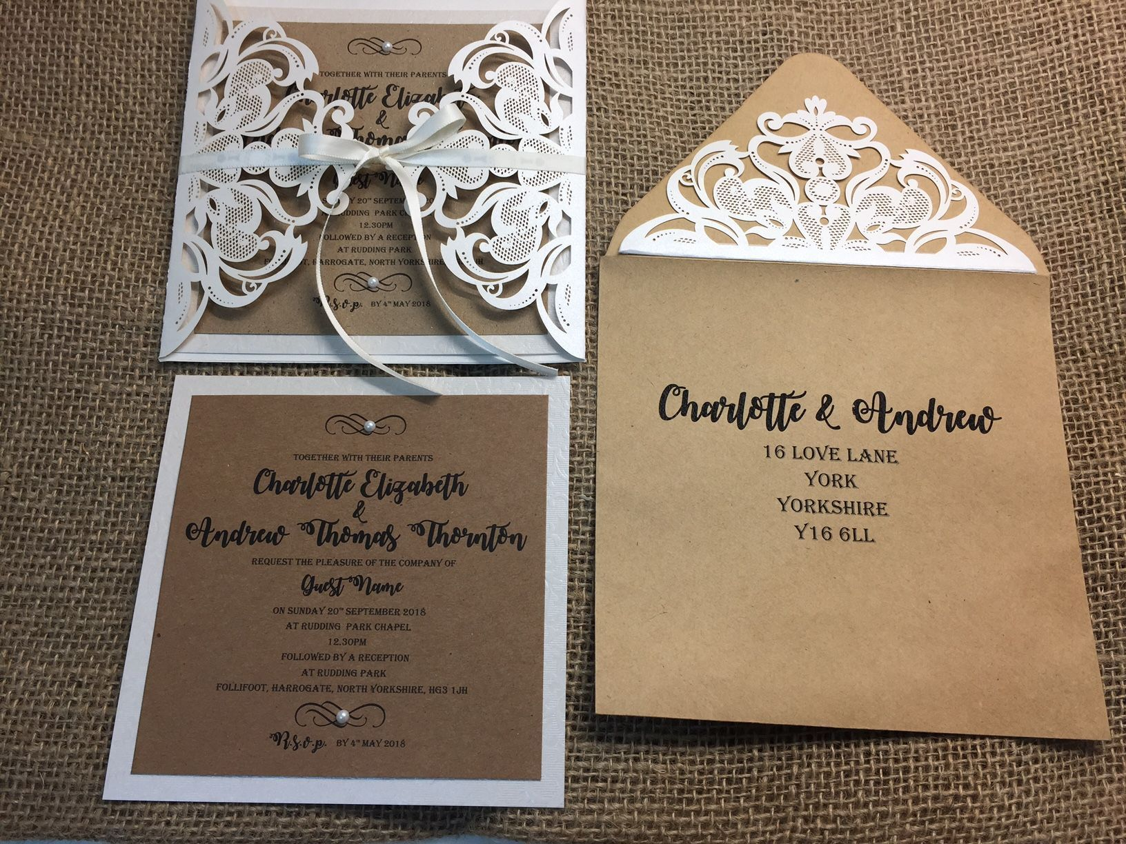 Rustic Vintage Laser Cut Envelope Invitations With Matching Envelopes From Amor Designs