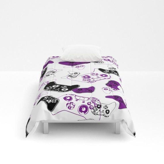 Purple Video Game Blanket, Video Game Comforter, Girl Gamer Room, Gaming Bedding, Gamer Girl, Video #gamerroom