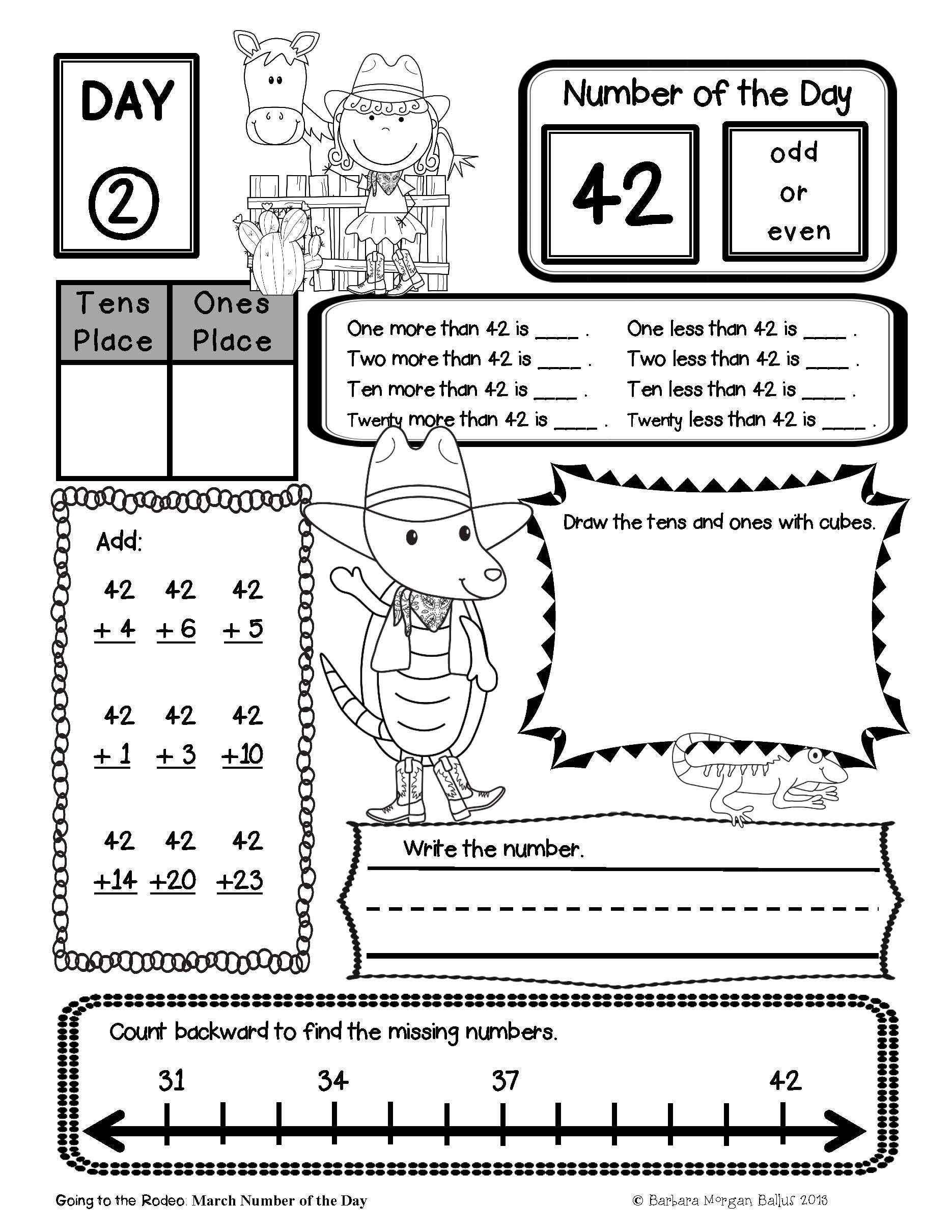 Place Value Number Sense First Grade Math Number Of The