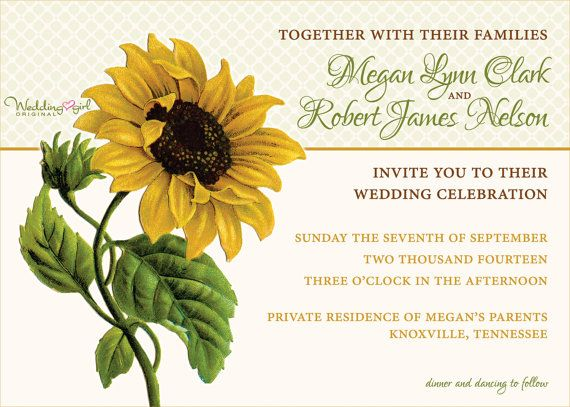 Sunflower Wedding Invitation Vintage Sunflower Invitation - Sunflower wedding invitations templates