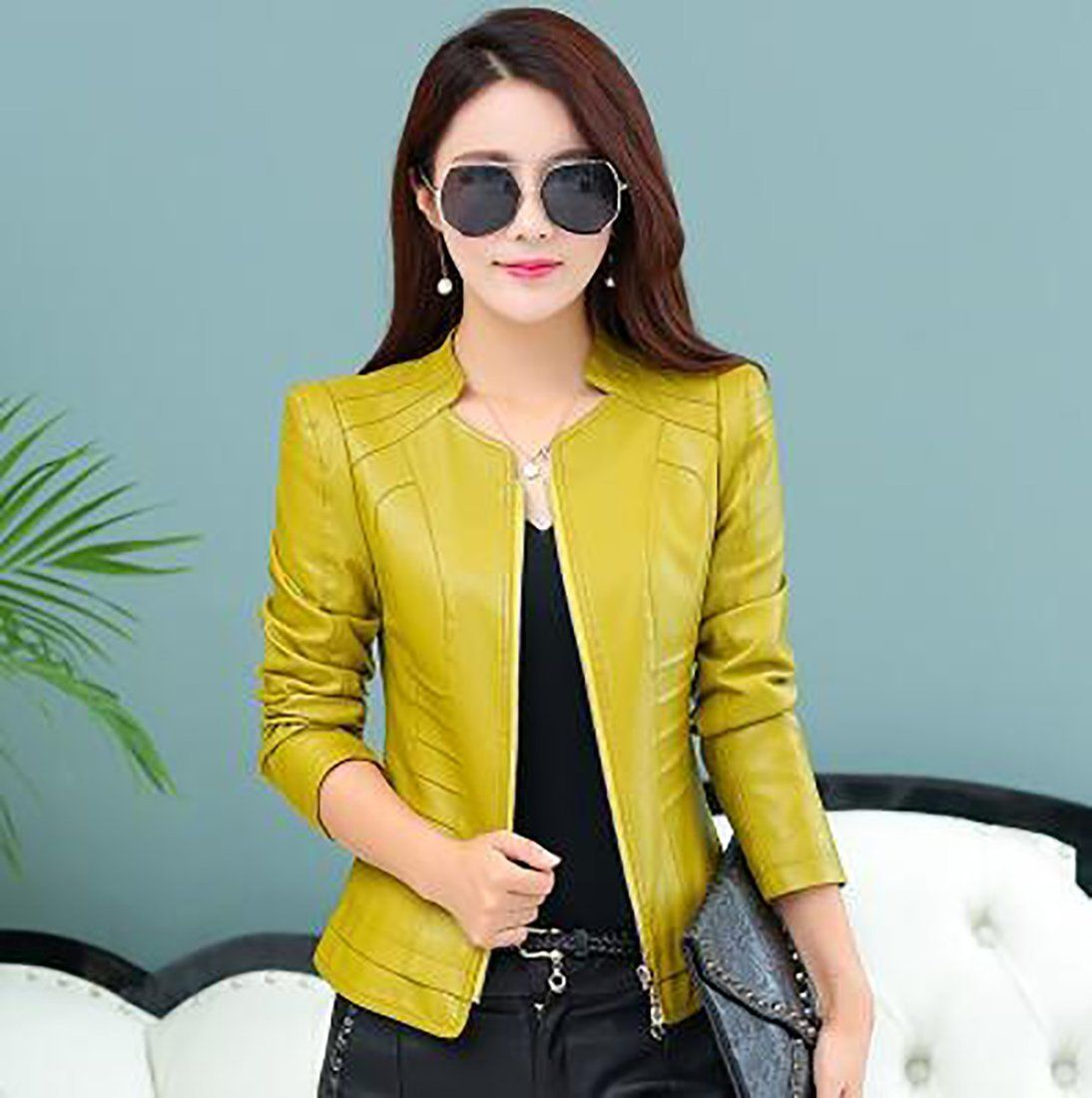 Women's Jacket Outwear Large Size Short Slim Leather for