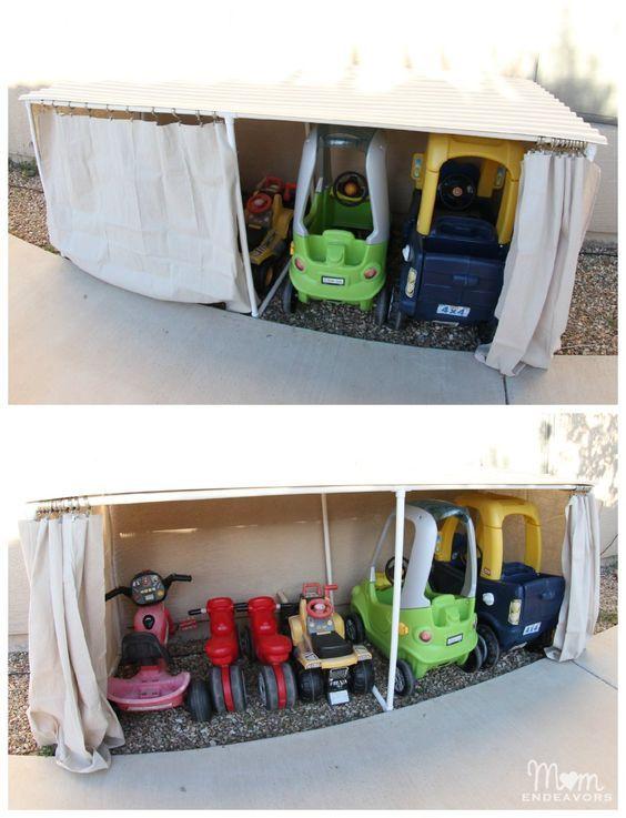 Kids Ride On Toys, Backyard Storage Ideas, Toy Car Storage Ideas, Outdoor  Kid, Diy Kids Toy Storage, Pvc Pipe, Outdoor Toy Storage Ideas