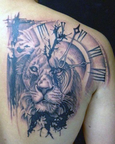 Tatuaże Męskie Zegar I Lew Watch Tattoos Mens Lion Tattoo Head Tattoos
