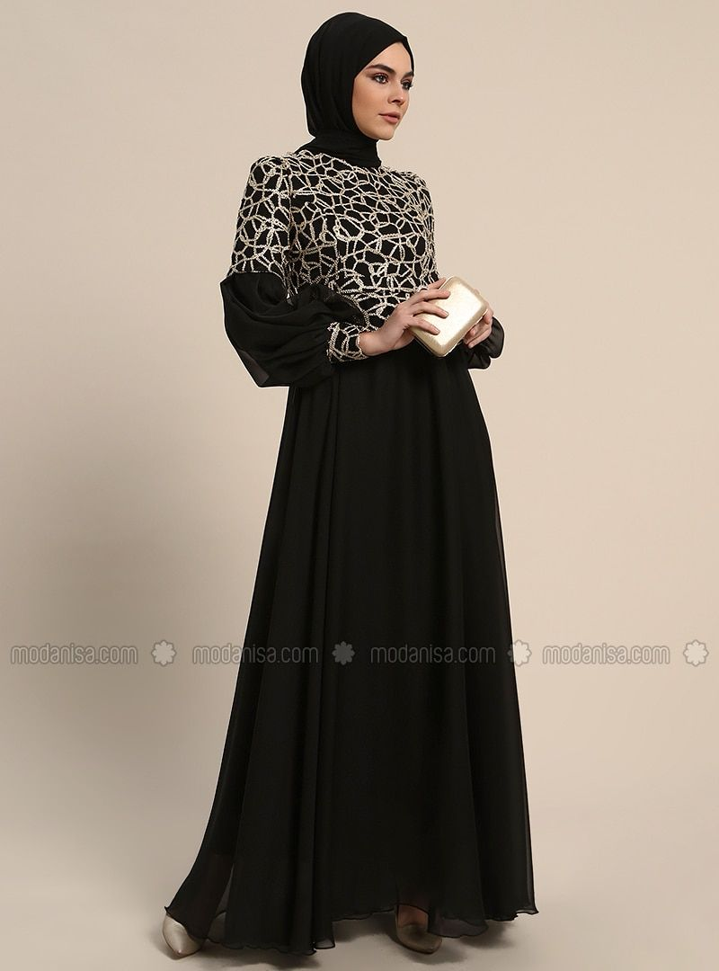 f64efd836f9b Refka Black Fully Lined Crew neck Muslim Evening Dress #eveningdress  #muslimeveningdress #hijabdressparty #