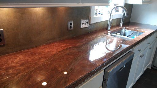 Rich Copper Metallic Epoxy Over Old Concrete Countertops In Houston Texas Contact Us For A Quote Epoxy Countertop Concrete Countertops Resin Countertops