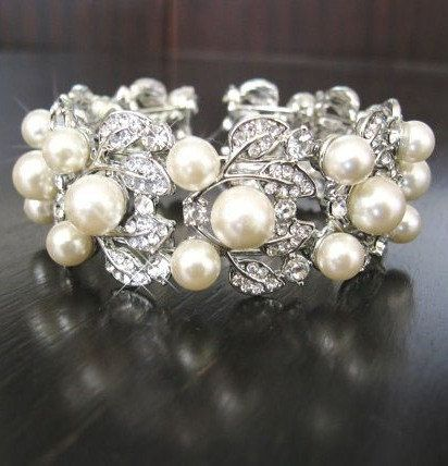 Bridal Bracelet  Swarovski pearls and rhinestone