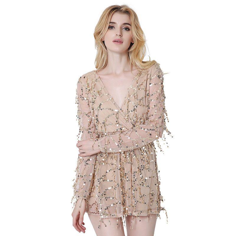 2017 Vesitdo Deep V-neck Women Dress Sequin Tassel Sexy Club Dresses Long  Sleeve Above 7801520333ba