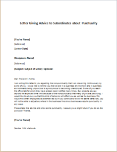 Letter Giving Advice To Subordinates About Punctuality Download At