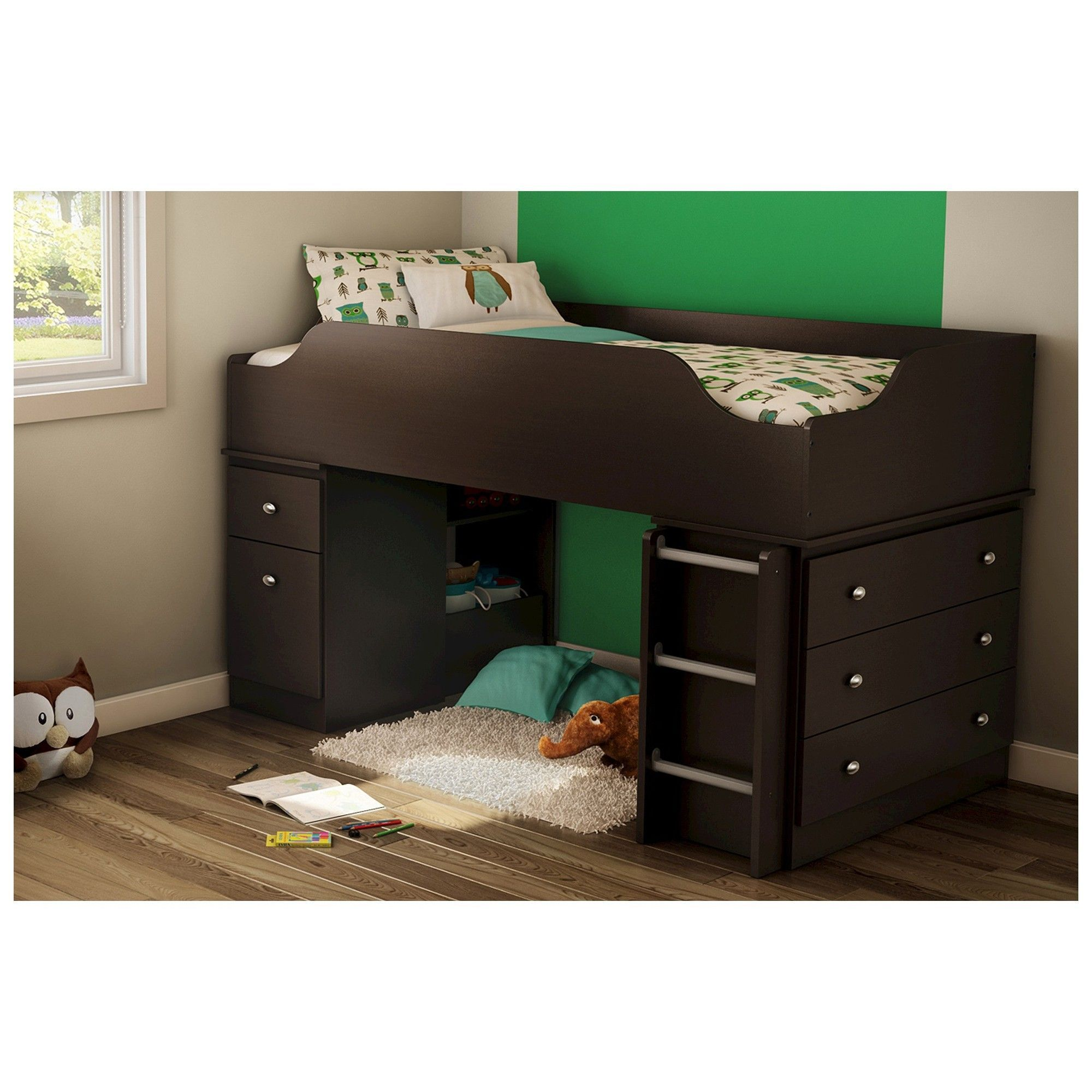Twin loft bed ideas  South Shore Tree House Loft Kids Bed  Chocolate Brown Twin