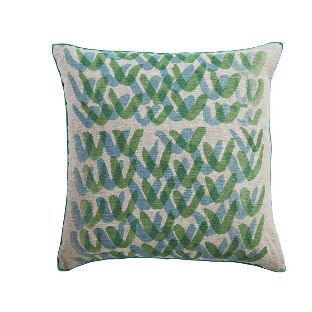 linen cushion hand screen printed with vs design in blue and
