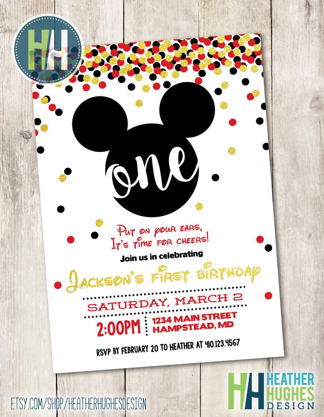mickey mouse first birthday invite, boy 1st birthday gold glitter ...