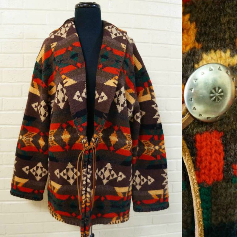 ae1dcda50 Ralph Lauren Wool Southwestern Indian Blanket Navajo Cardigan Sweater Jacket  XL  RalphLauren  Cardigan