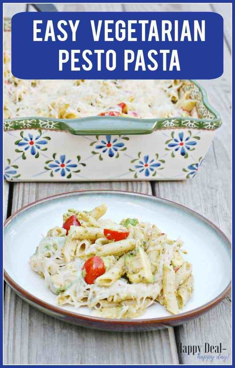 Easy Vegetarian Pesto Pasta  easy weeknight meal that utilizes fresh basil and tomatoes