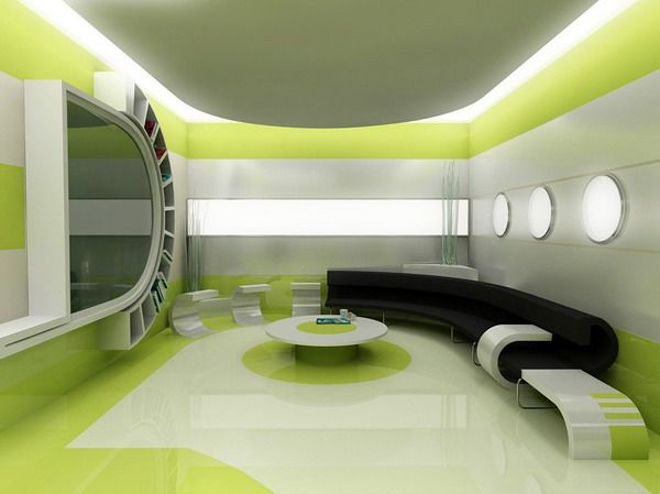 green silver and white space ship interior living room