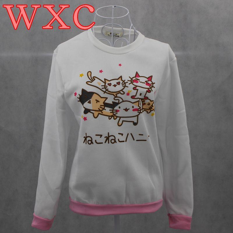 Neko Atsume Hoodies Cat Sweatshirts Cute Japanese Mori Girl Kawaii Tops  School Clothes Women Moletom WXC 0c64aa57db