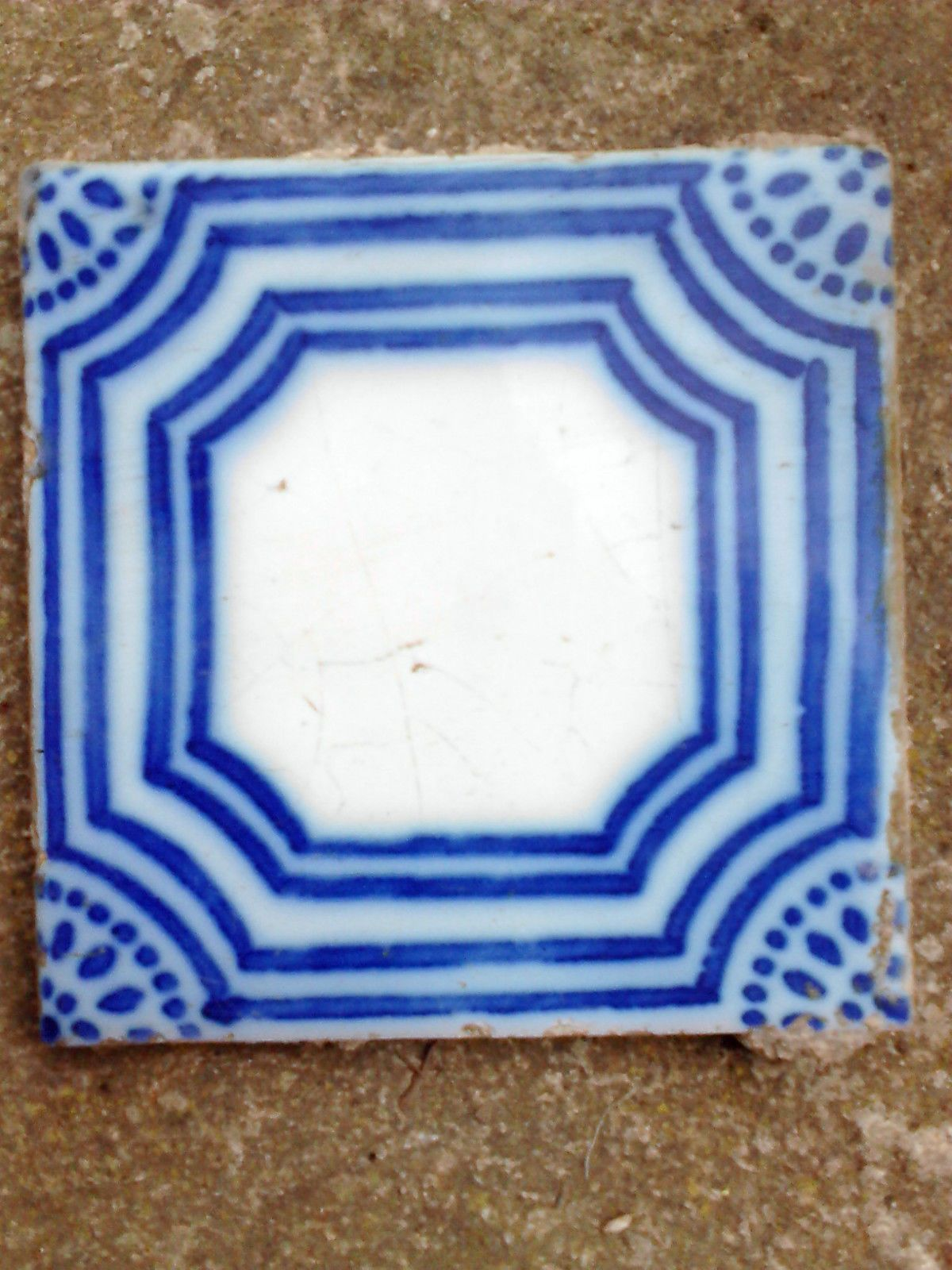 Lot Ancien Carreau Faience Terre Cuite Carrelage Ceramique