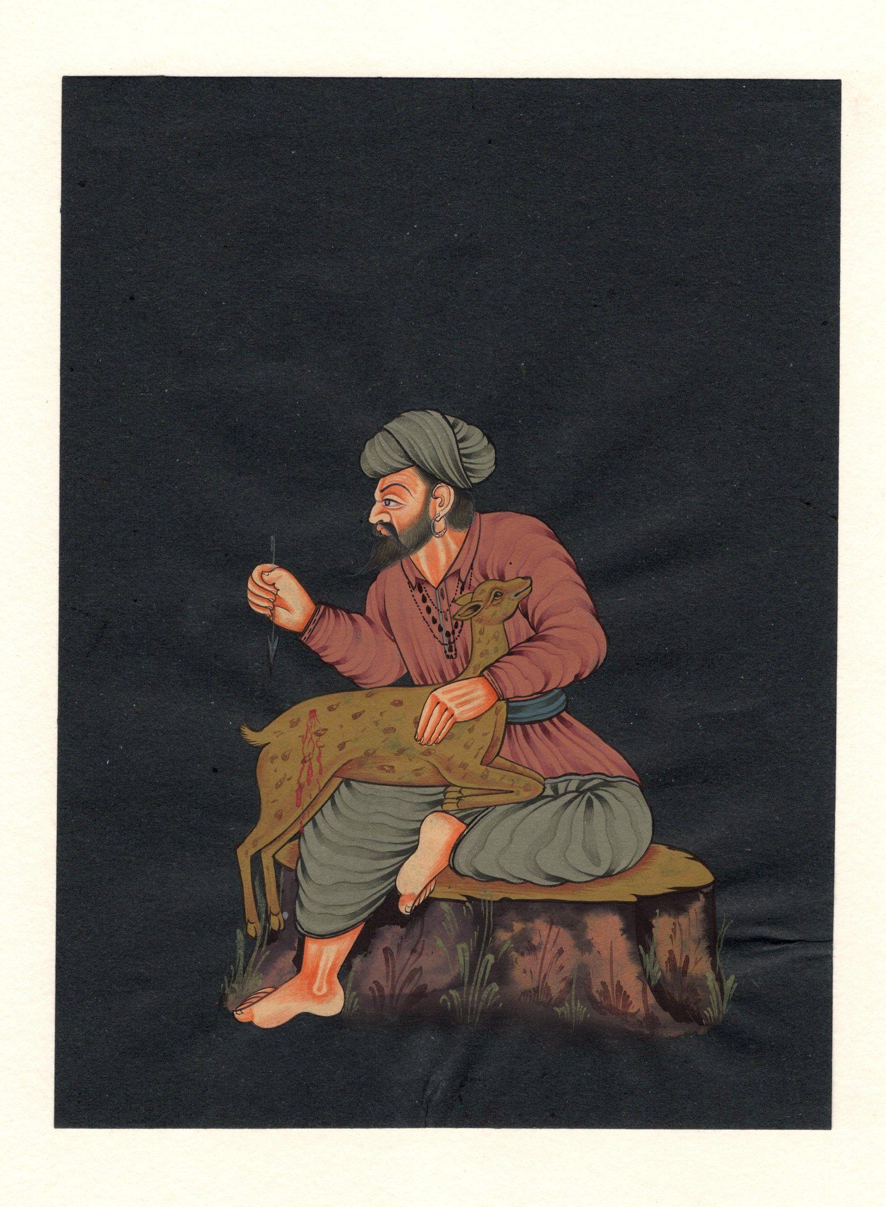 Rajasthani Villager Folk Art Handmade Indian Miniature Portrait Ethnic Painting