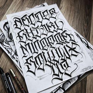"Anton Shcherbik on Instagram: ""First day of @bigmeas #26challenge #lettering #tattooart #letters #script #scripture #blackworkers #tattoolove #blackink #darkartists…"""