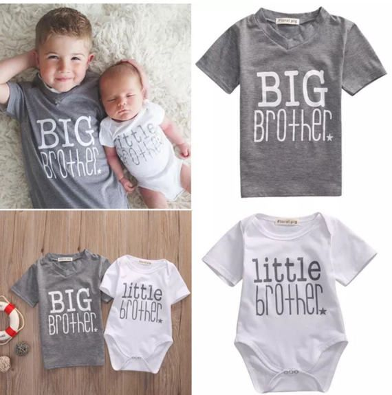 squarex Infant Baby Boy Brother Print Romper Jumpsuit Kids Shirt Clothes Outfit