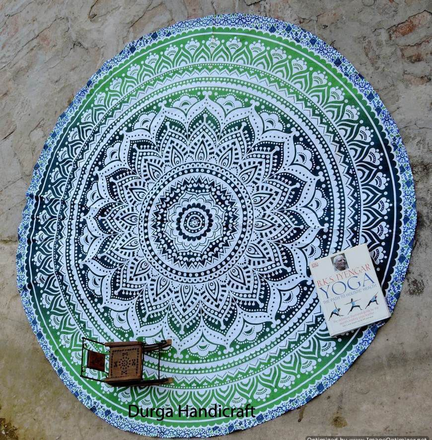 Indian Ombre Round Mandala Tapestry Hippie Beach Throw Cotton Blanket Yoga Mat #Handmade #Traditional #BeachThrowYogaMatTableCoverWallHanging