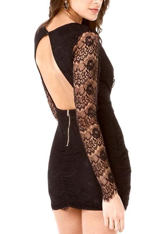 ce4462b9b690 Black Patchwork Lace Hollow-out Plunging Neckline Mini Dress ...
