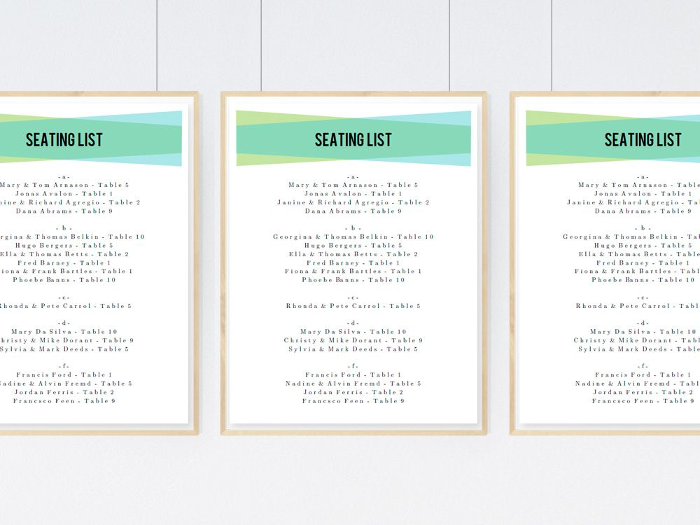 Printable Wedding Seating Sign  Blue Green Geometric  Geometric