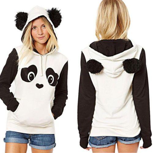 Sudaderas para mujer Panda Pocket Con capucha Hoodie Tops Blusa in Ropa,  calzado y complementos