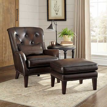 Bernard Leather Chair And Ottoman Home Chair Ottoman