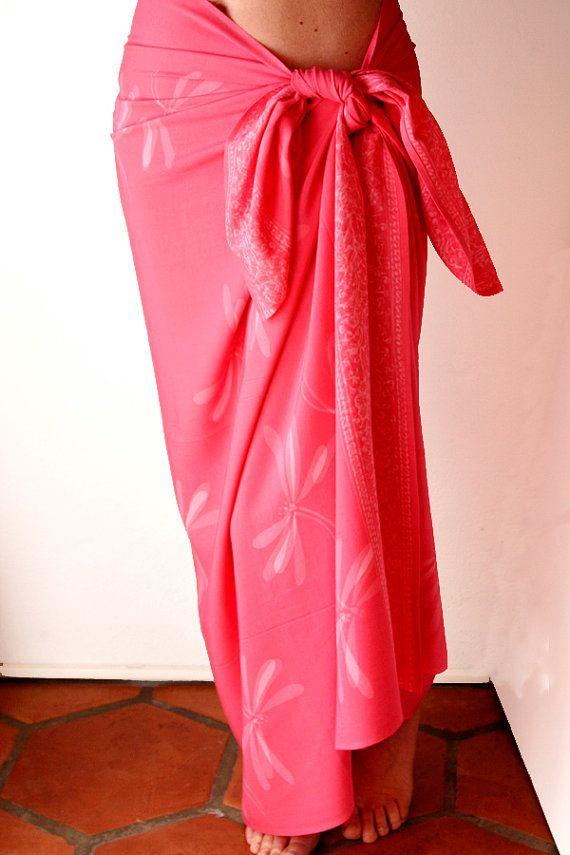 6695f4cc391da Coral Dragonfly Batik Sarong - Women's Clothing Beach Wrap Skirt - Pink  Pareo - Beach Sarong - Swimsuit Coverup - Spa Wrap - Batik Sarong