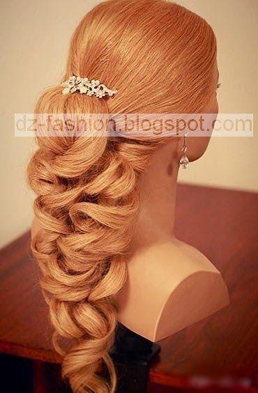 عمل تسريحات شعر طويل بالصور Dz Fashion Curled Hair With Braid Elegant Braided Hairstyle Diy Hairstyles