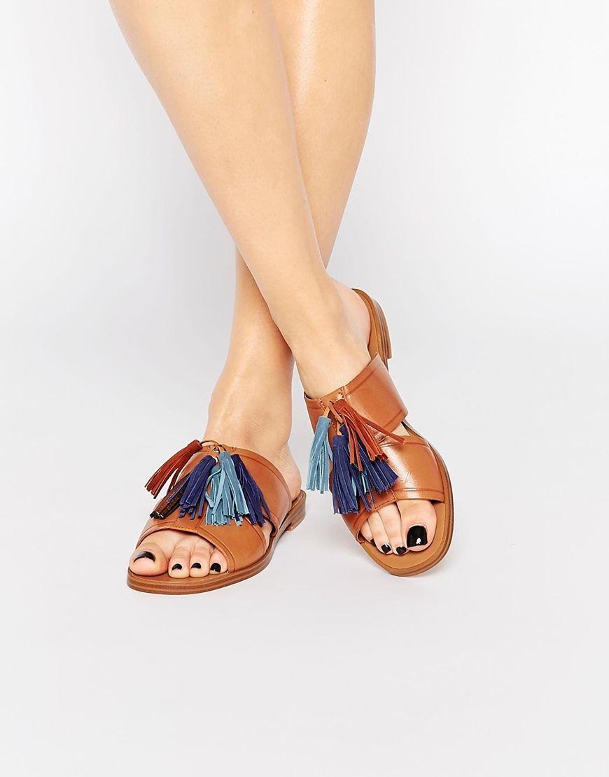 Image 1 of ALDO Grazioli Camel Tassel Flat Slider Sandals