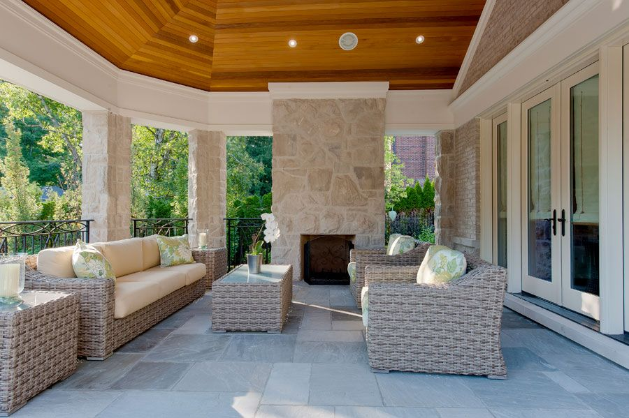 Pcm project construction management inc your builder of new luxury custom · two sided fireplaceoutdoor