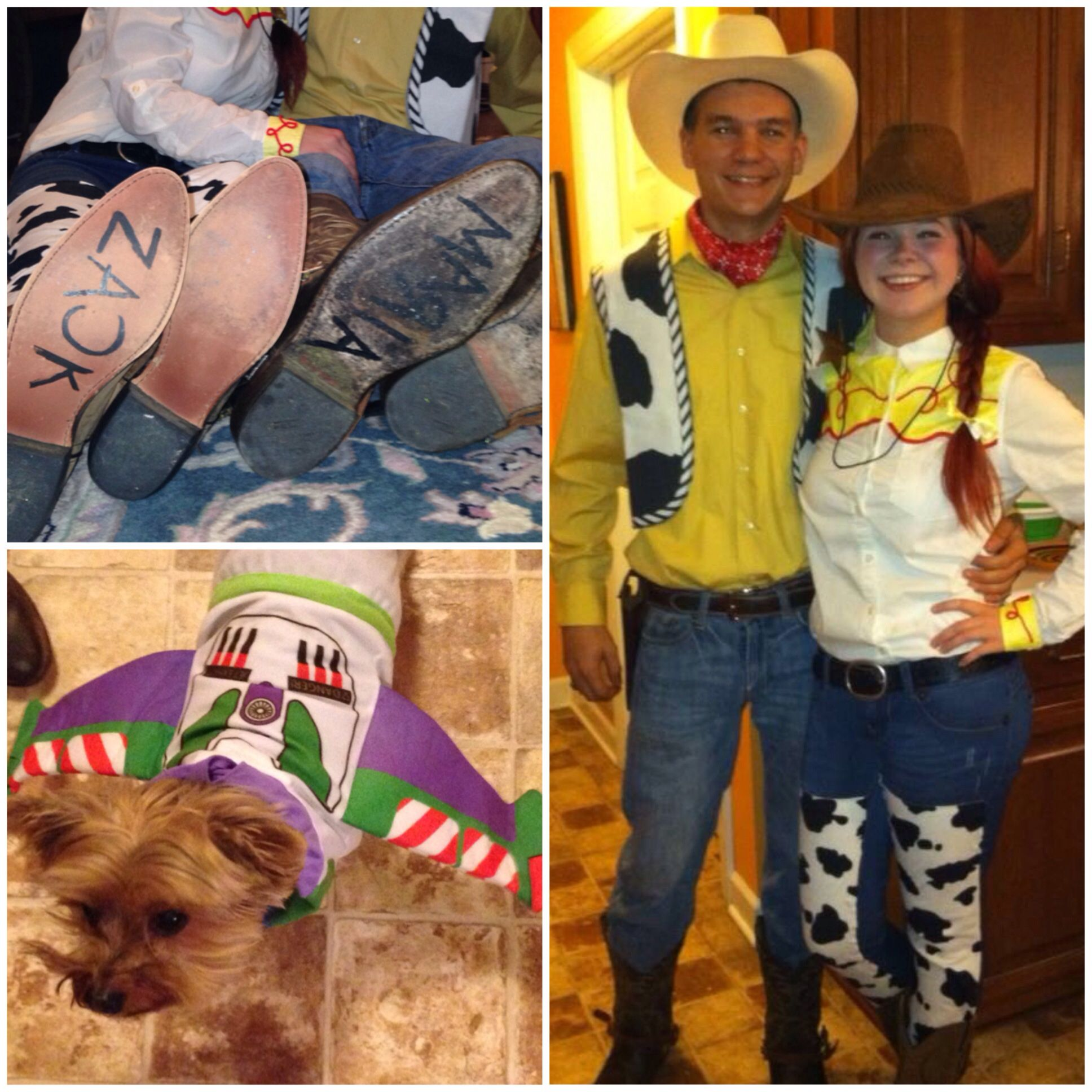 Woody, Jessie, and Buzz Lightyear. Halloween cute couple costume ...