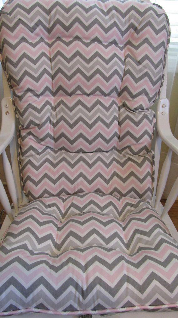 Rocking Chair Or Glilder Cushion Set In Grey Pink White Chevron, Pastel Pink  Porch,