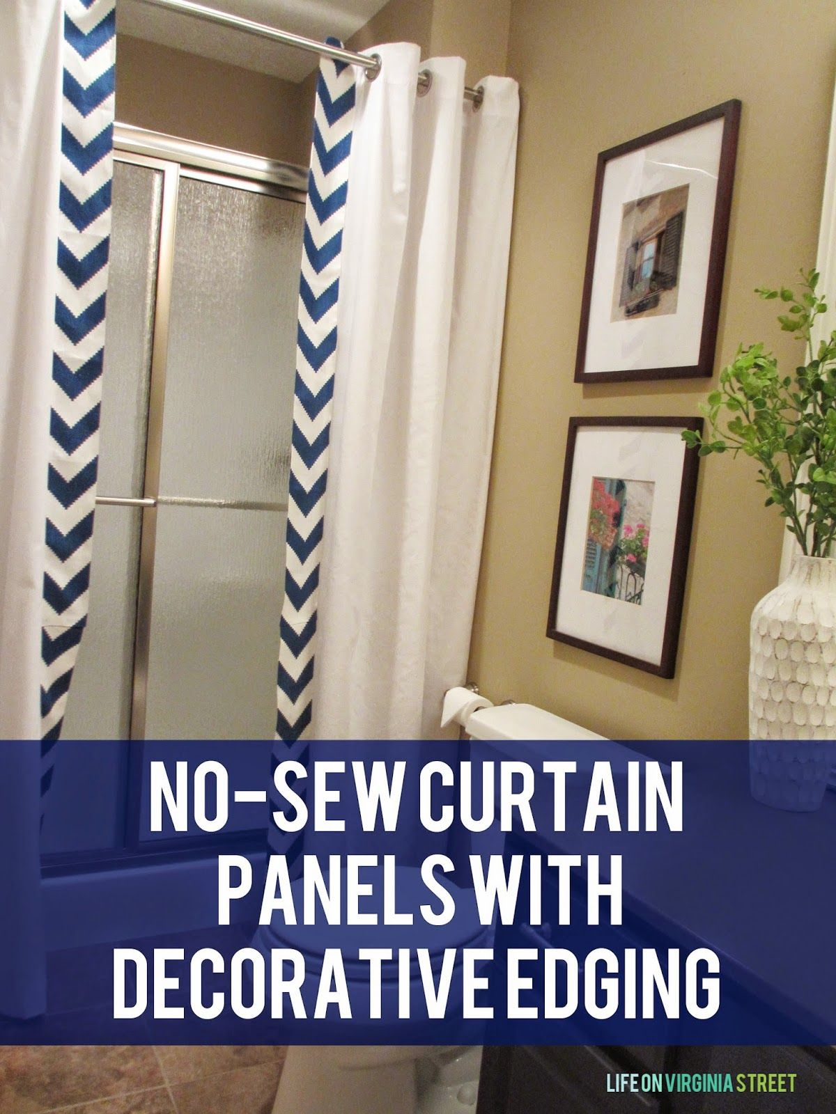 Easy No Sew Shower Curtain Tutorial Life On Virginia Street Diy Shower Curtain Renters Decorating Curtains