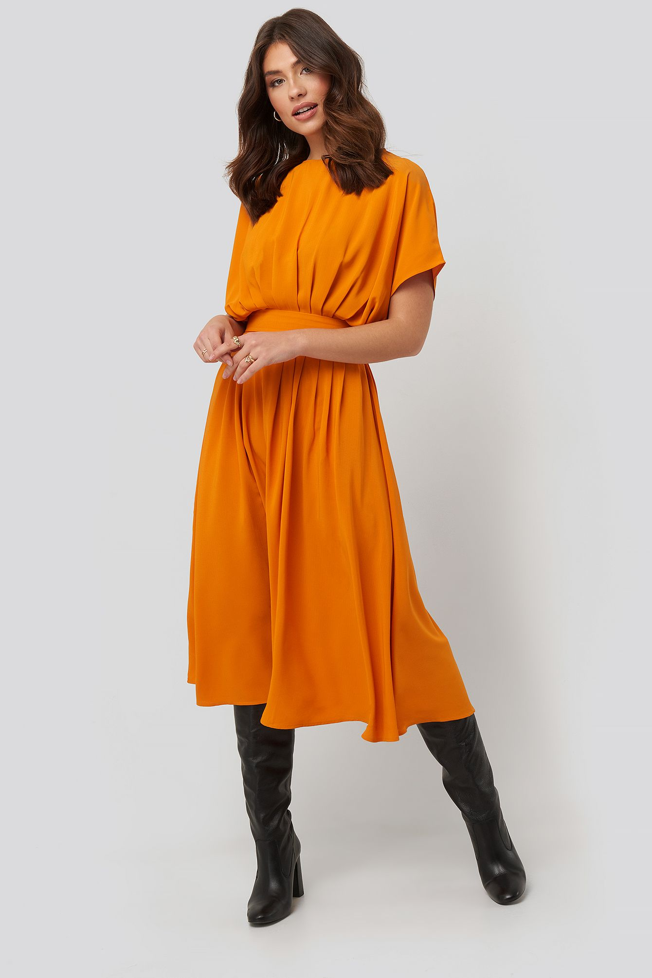 marked waist dress orange in mustard | waist dress, dresses