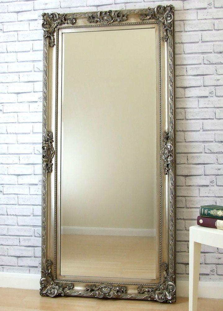 Paris SILVER Shabby Chic antique Full Length Leaner floor Mirror 69 ...