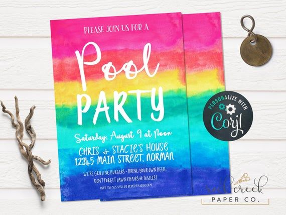 Summer Pool Party Invitation, Swim Party Invitation, Rainbow Watercolor Invitation, Beach Party, Dig #summerpoolparties
