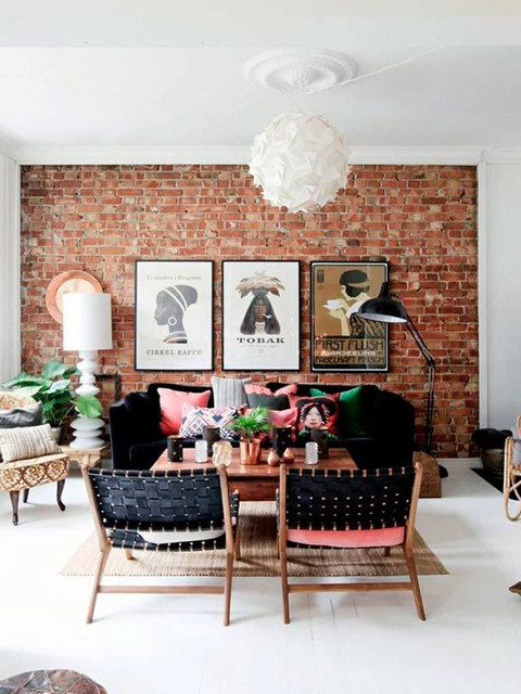 Bricked wall woven chairs and stylish home interiors also eclectic rh za pinterest