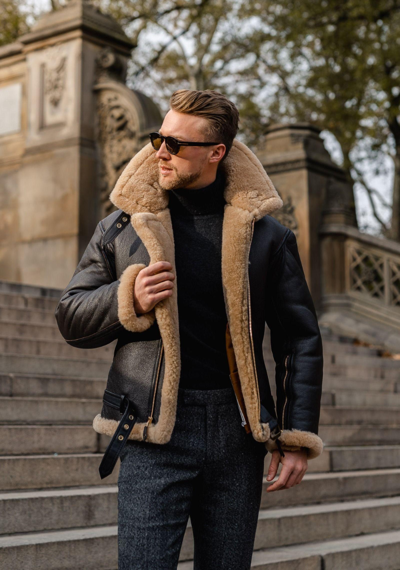 R A F Sheepskin Bomber Jacket In 2021 Mens Shearling Jacket Men S Streetwear Mens Leather Coats [ 2283 x 1600 Pixel ]