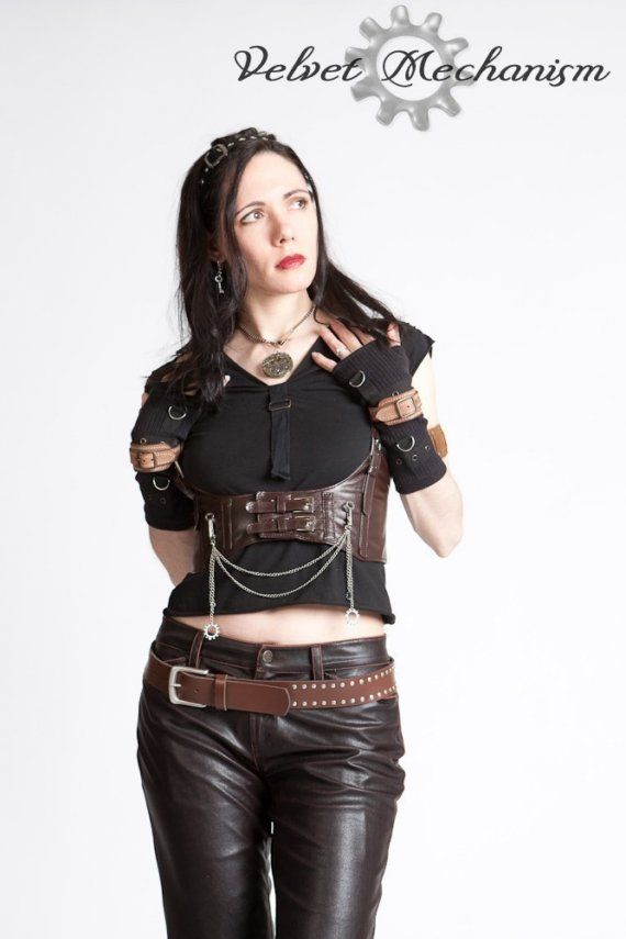 Steampunk Chest Harness Brown Faux Leather by velvetmechanism