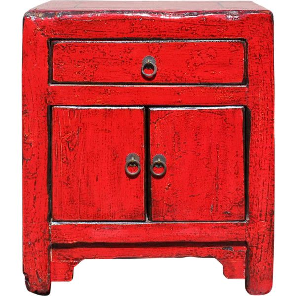 Asian Style Red Lacquer Small End Table Nightstand liked on