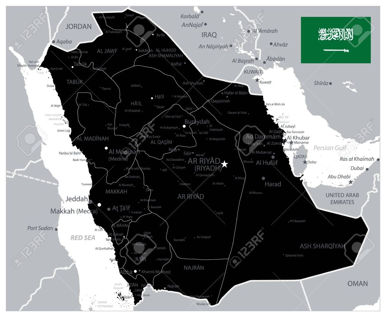 Black Color Saudi Arabia Map Image Contains Layers With Administrative Divisions Map Land Names City Name In 2020 Vector Illustration Administrative Division Image