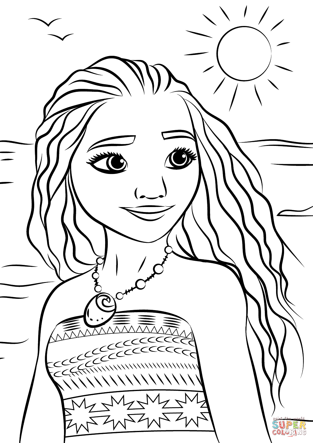 Princess Moana Portrait coloring page | Free Printable ...