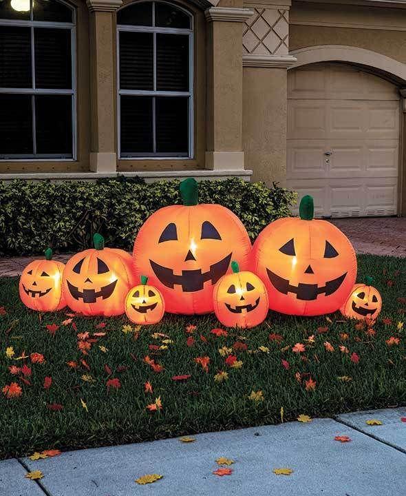 8\u0027 Inflatable Lighted Pumpkin Patch Outdoor Fall Halloween Yard