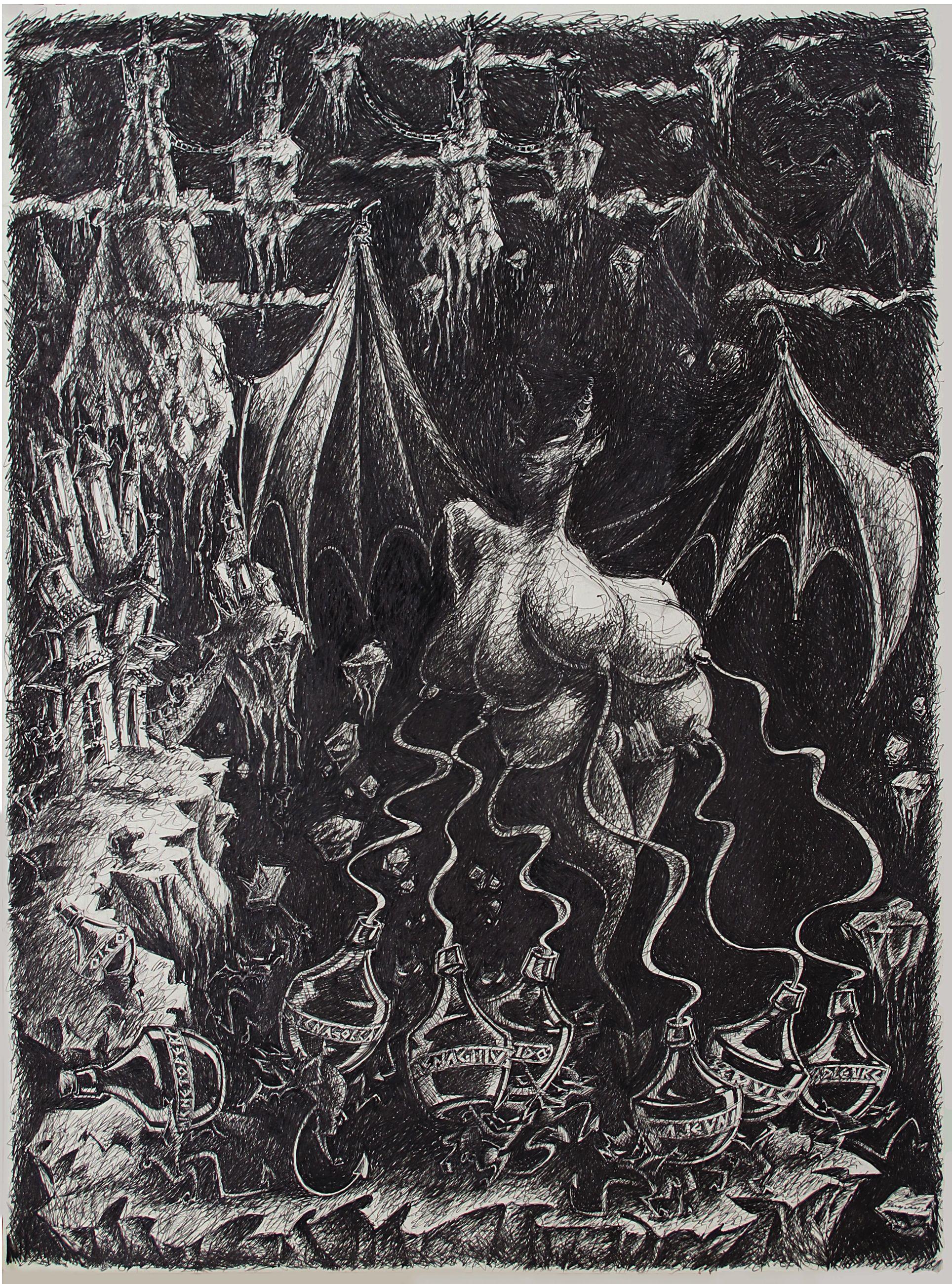 As Seivas do Demônio - Bico de Pena sobre papel